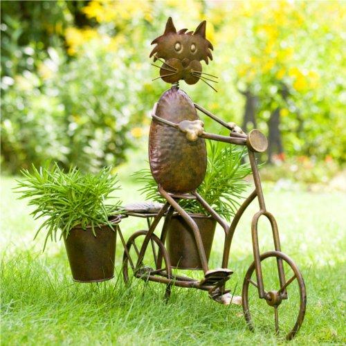 Blumentopf skulptur katze k the auf fahrrad garten for Blumentopf dekoration