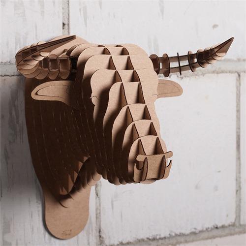 Large Cardboard Safari Faux Animal Wall Mounted Bull Head