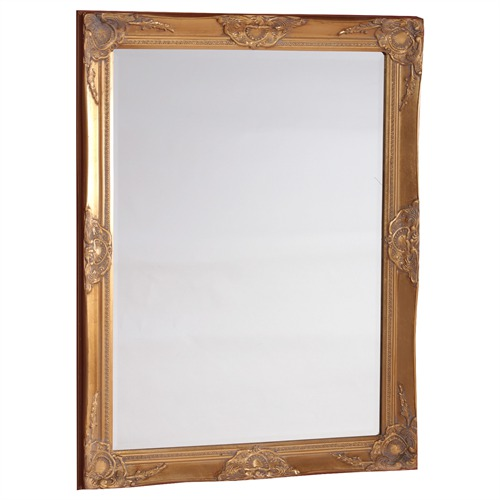 Baroque picture frame carved wood facet mirror 70x90 cm for Plastic baroque mirror