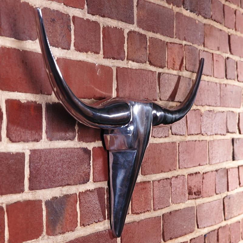 Aluminium bull horns 100cm animal head wall antlers room for Aluminium decoration