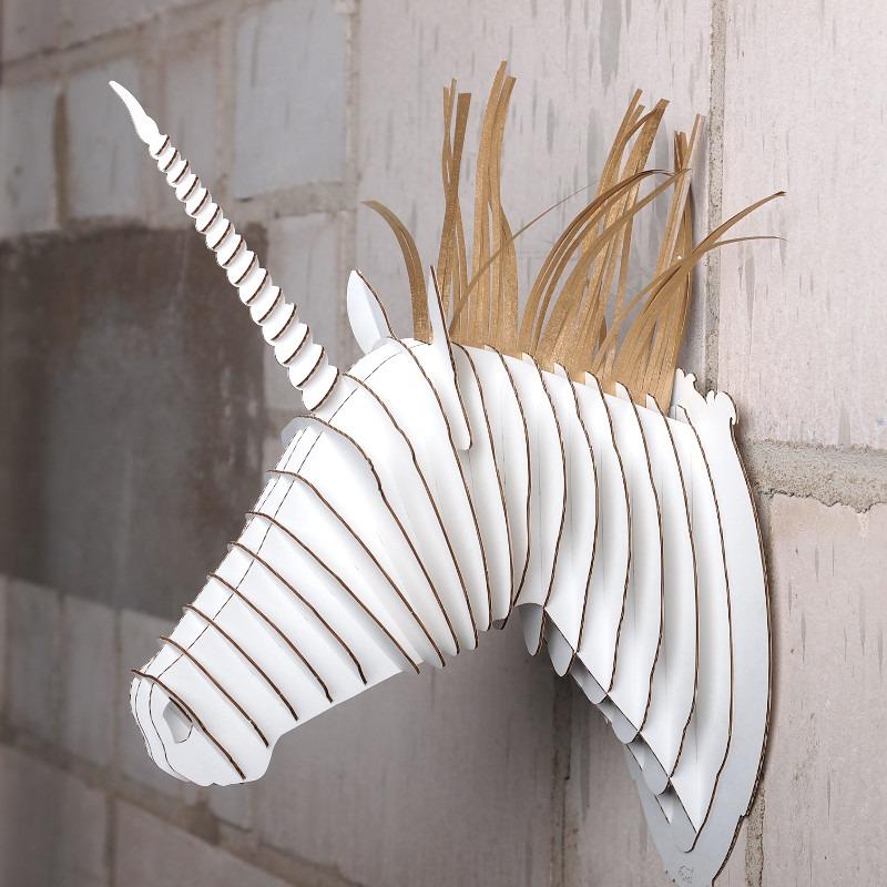 White merlin the unicorn cardboard safari animal head for Free cardboard taxidermy templates