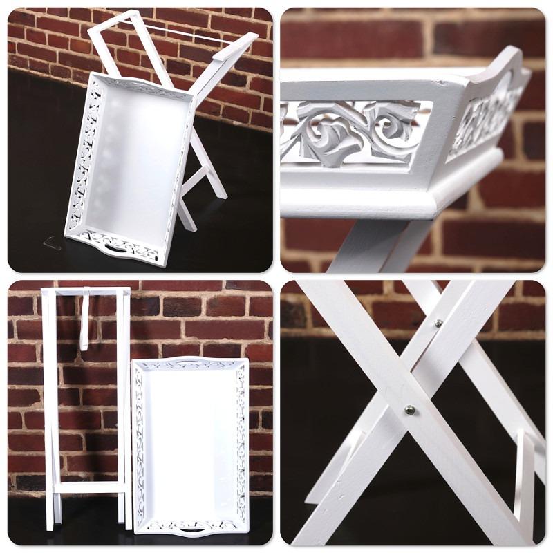 design holz tablett landhaus mit tisch weiss gekalkt ebay. Black Bedroom Furniture Sets. Home Design Ideas