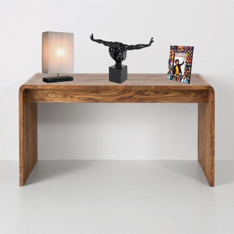 MASSIVE WOODEN DESIGN DESK AUTHENTICO Pc Table Office Furniture Brown EBay