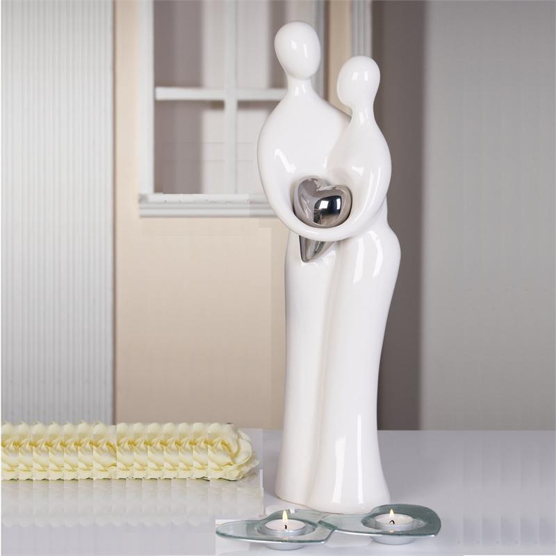 Design sculpture lovers with heart decoration statue white silver ebay - Statue moderne design ...