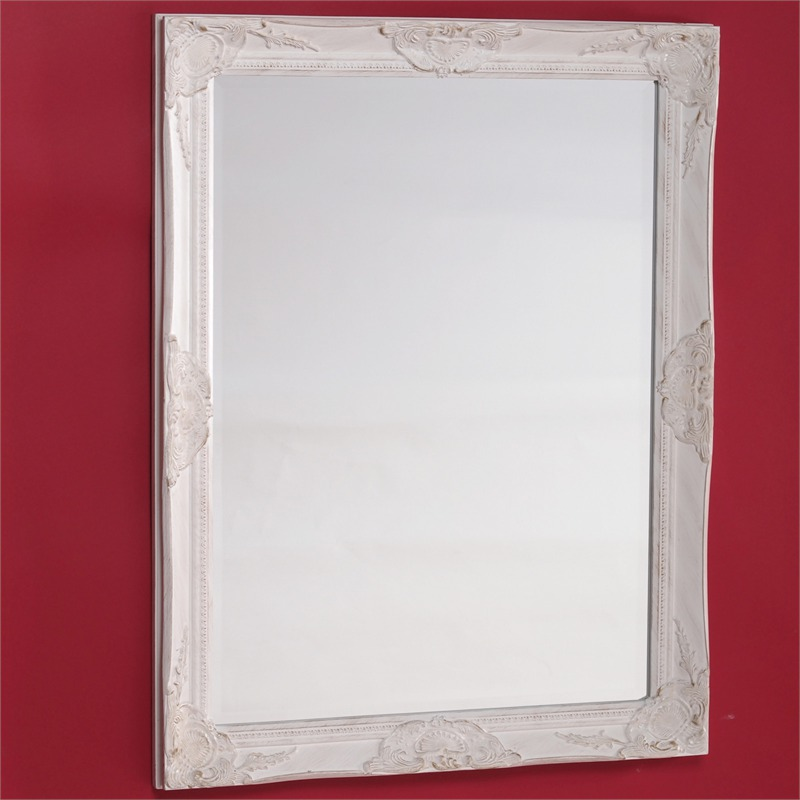 Large overmantle carved wood baroque frame bevelled wall for Big mirror with white frame