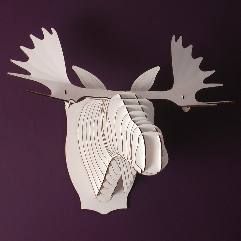 Cardboard safari 3d puzzle animal head wall picture fred the moose white micro - Cardboard moosehead ...