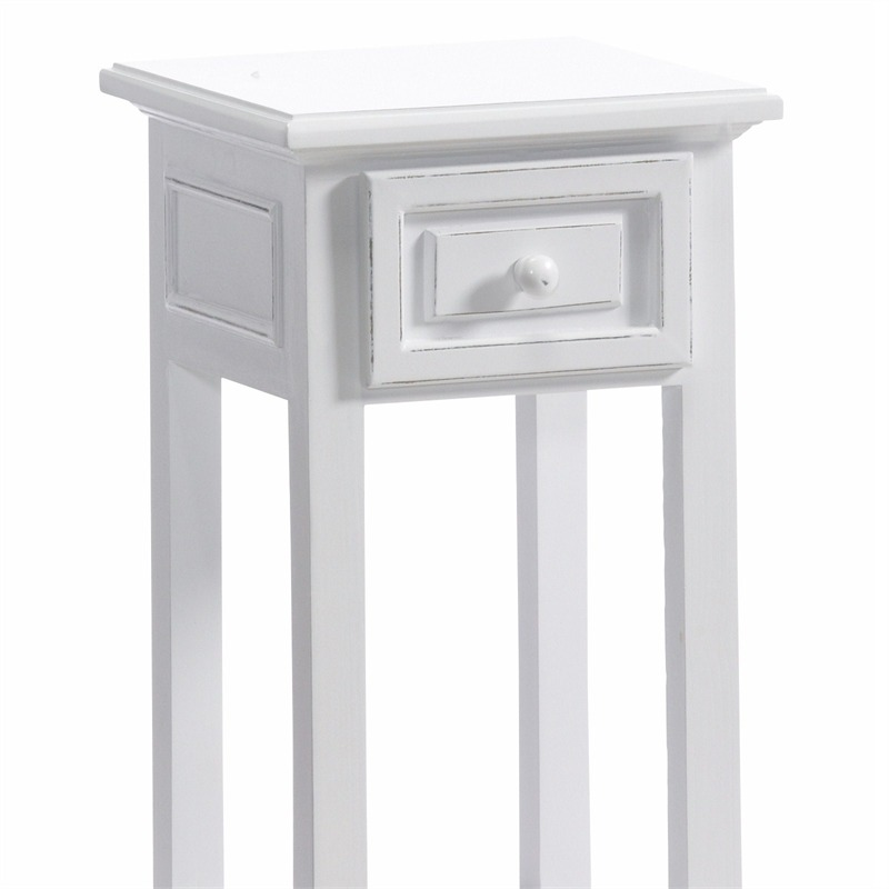 DESIGN TELEPHONE TABLE COUNTRY SIDE STYLE With Drawer White Washed