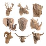 Large CARDBOARD SAFARI 3D ANIMAL WALL TROPHY brown