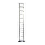 "Design CD stand ""TOWER"" aluminium silver 54.5"" storage rack 126 CDs"