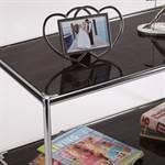DESIGN TV-TISCH STYLE 40x80cm GLAS glastisch wohnzimmertisch zebrano