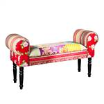 "Design patchwork seating bench ""IBIZA"" cushioned 40"" multicoloured"