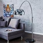"Design Bogenlampe ""BIG BOW CHROM"" Stehalmpe phne Dimmer silber"