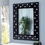 """Wandspiegel """"GLAMOUR"""" mit Samtbezug schwarz 80 x 60 cm"""
