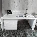 """Design Schreibtisch """"HELSINKI"""" 120cm breit weiß hochglanz"""