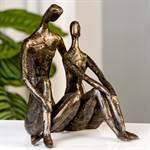"""TRAUMHAFTE DEKOFIGUR """"TRUST"""" Liebespaar Skulptur 25 cm bronzefinish"""