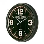 """METALL UHR """"UNION HOTEL"""" Wanduhr im Vintage Design schwarz Ø 63 x 7 cm"""