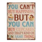 "Vintage Metall Schild ""YOU CAN`T BUY HAPPINESS..."" Wanddeko 27x35 cm"