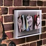 """Außergewöhnlicher Fotorahmen """"CLIPS"""" für mehrere Bilder weiß/grau"""