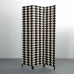 "Room divider ""FASCIA partition 3pc folding screen paravent brown-ivory"