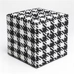 "Design cube seat ""JOSEFA""  15.5x15.5x1 black- white stool pepita style"