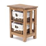 Bathroom chest of drawers | rattan baskets, beige, 51x38x29cm (HxWxD)