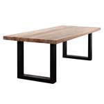 MASSIV WOOD EATING TABLE QUEBEC + U-PROFILE STEEL FRAME, solid ashwood
