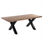 MASSIV WOOD EATING TABLE LUZERN + X-PROFILE STEEL FRAME, solid ashwood