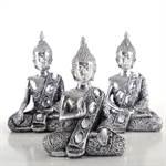 "3er Deko Set ""PRAJNA"" | 13 cm, Kunststein | 3 Buddha Figuren"