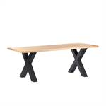 Massivholz Esstisch ESCHE BAUMKANTE | geölt, X-Profil, 200x100 cm