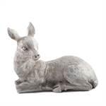 """Deko Figur """"REH LIEGEND""""   36 cm, creme, Kunststein   Rehfigur"""