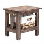 "Nachttisch ""RATTAN"" mit Korb | 40x35x30 cm, Recycling Holz"