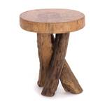 "Wooden stool ""TEAK 40""   40x34cm (HxW), solid wood   foot stool"