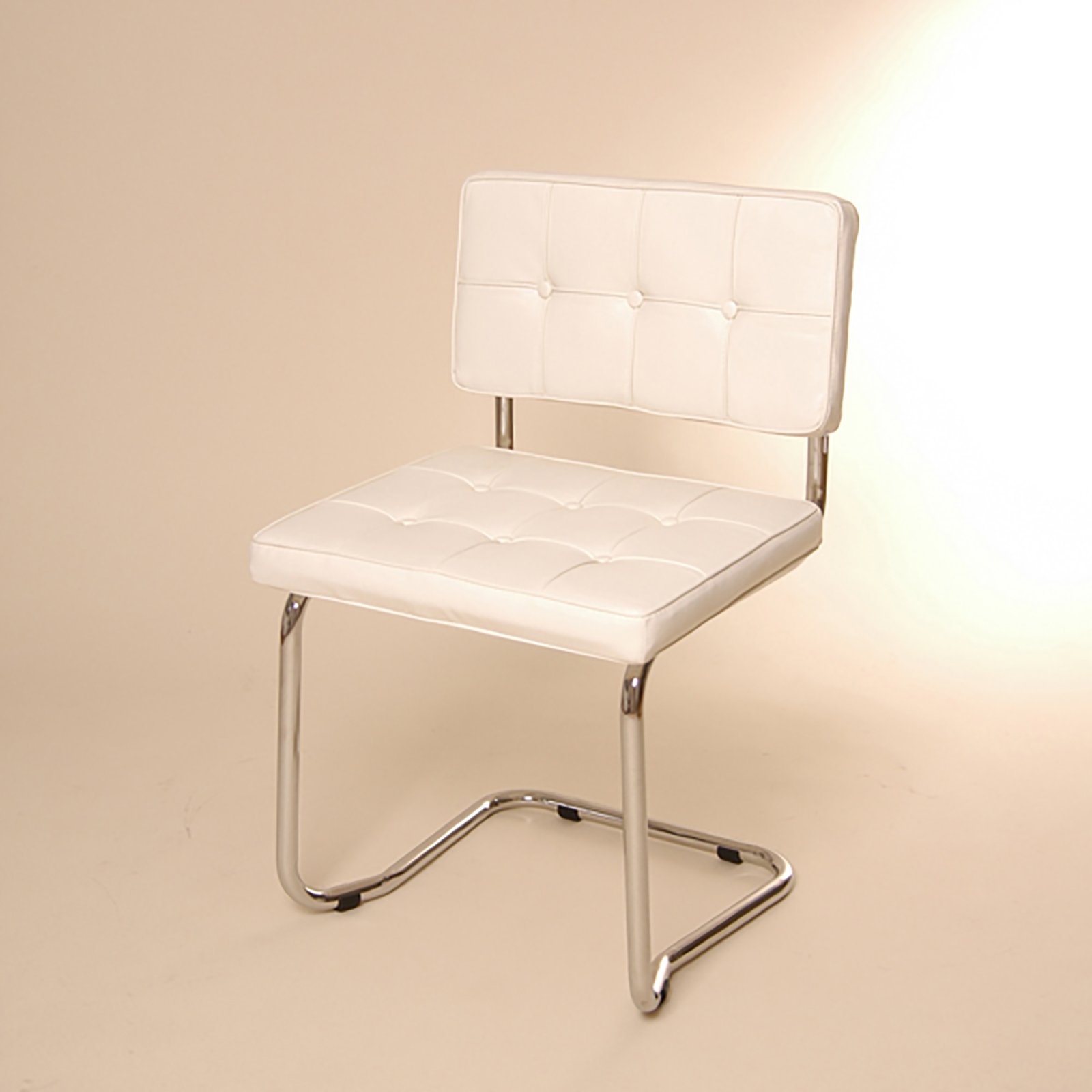 Design cantilever chair white faux leather dining for Chair design leather