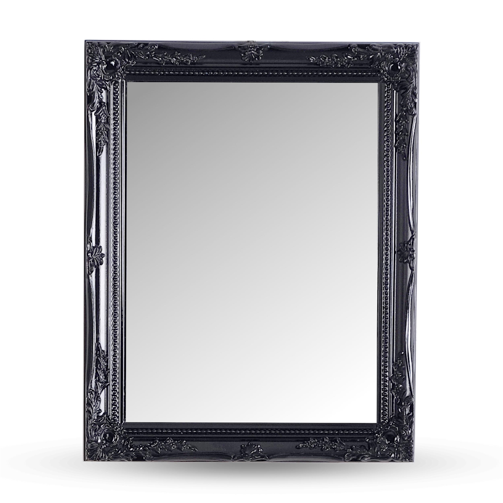 Baroque wall mirror black carved wood antique for Baroque style wall mirror