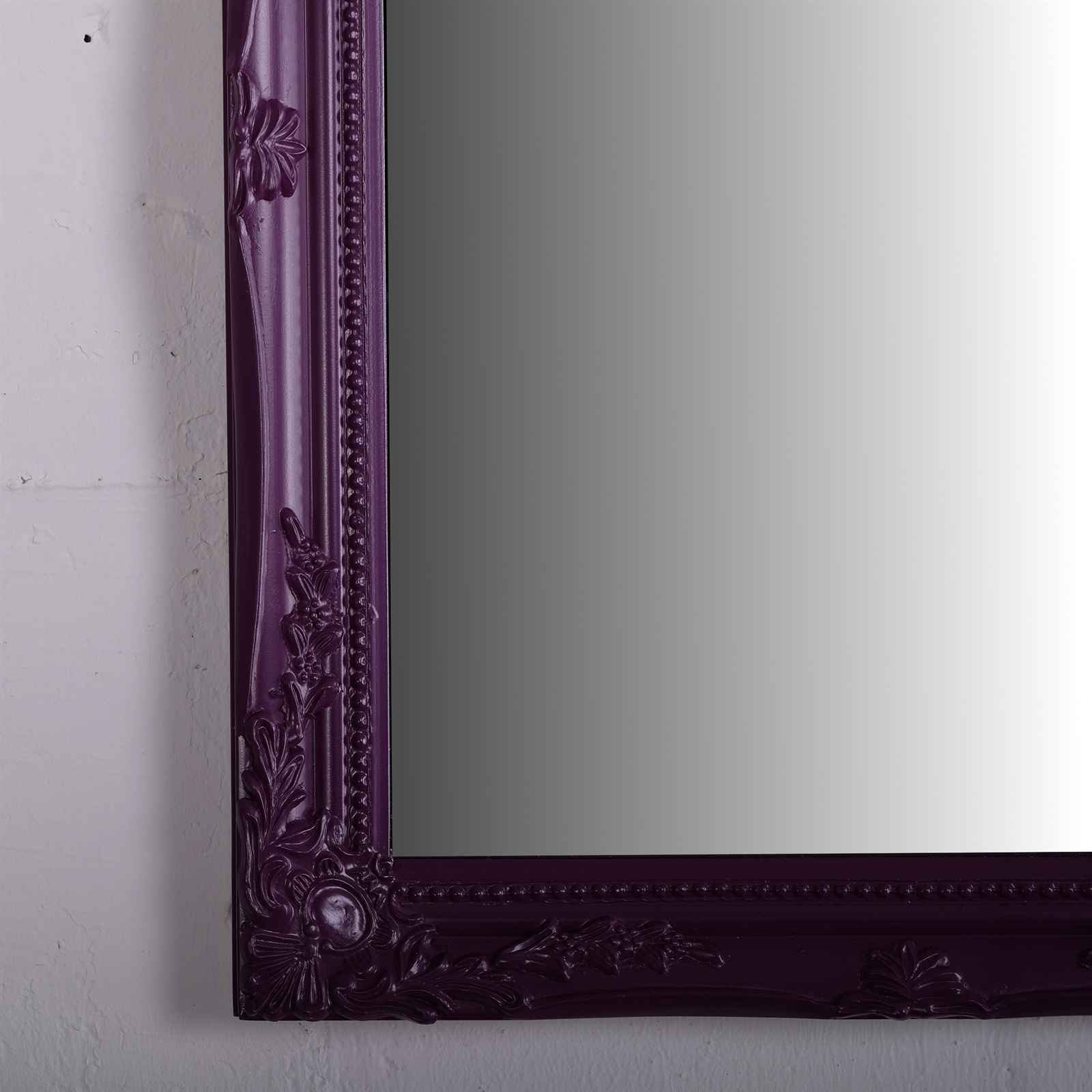 baroque wall mirror purple carved wood antique. Black Bedroom Furniture Sets. Home Design Ideas