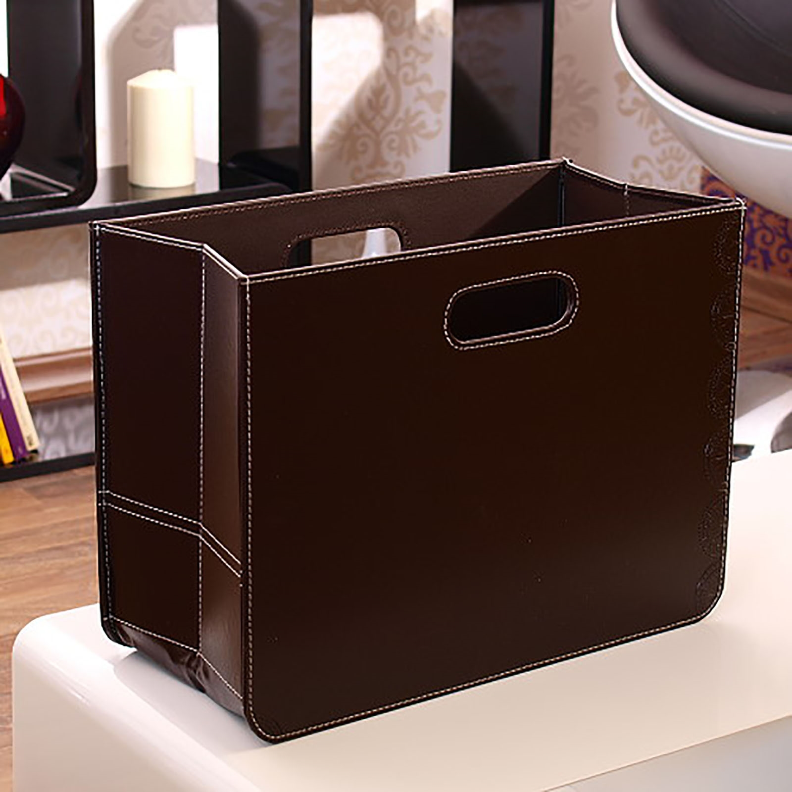 design magazine holder brown faux leather newspaper box paper dustbin ebay. Black Bedroom Furniture Sets. Home Design Ideas