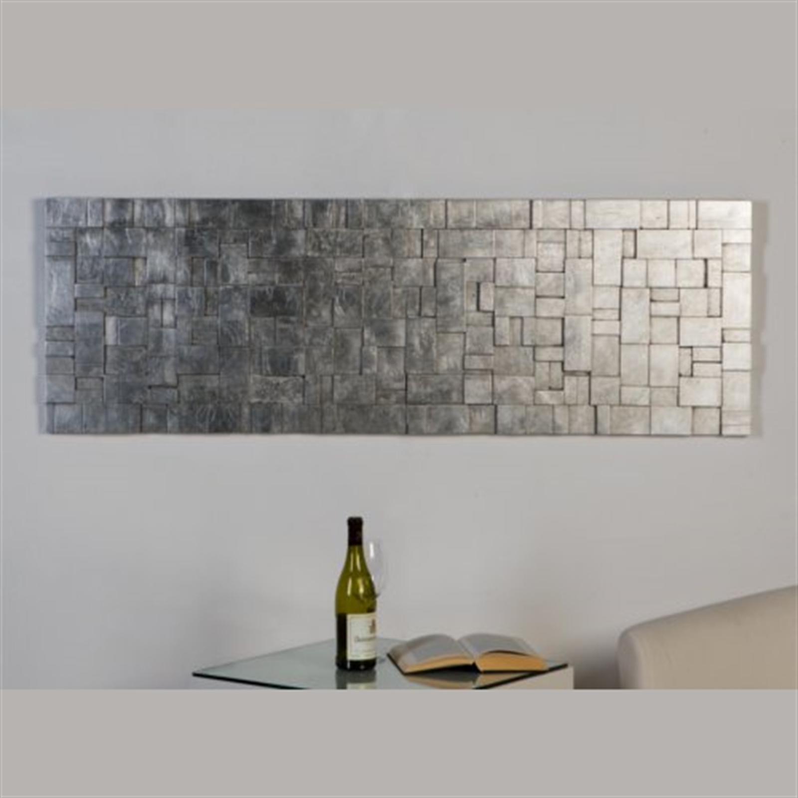 Edles design wandbild 50x150cm silber wand dekoration for Designer dekoration