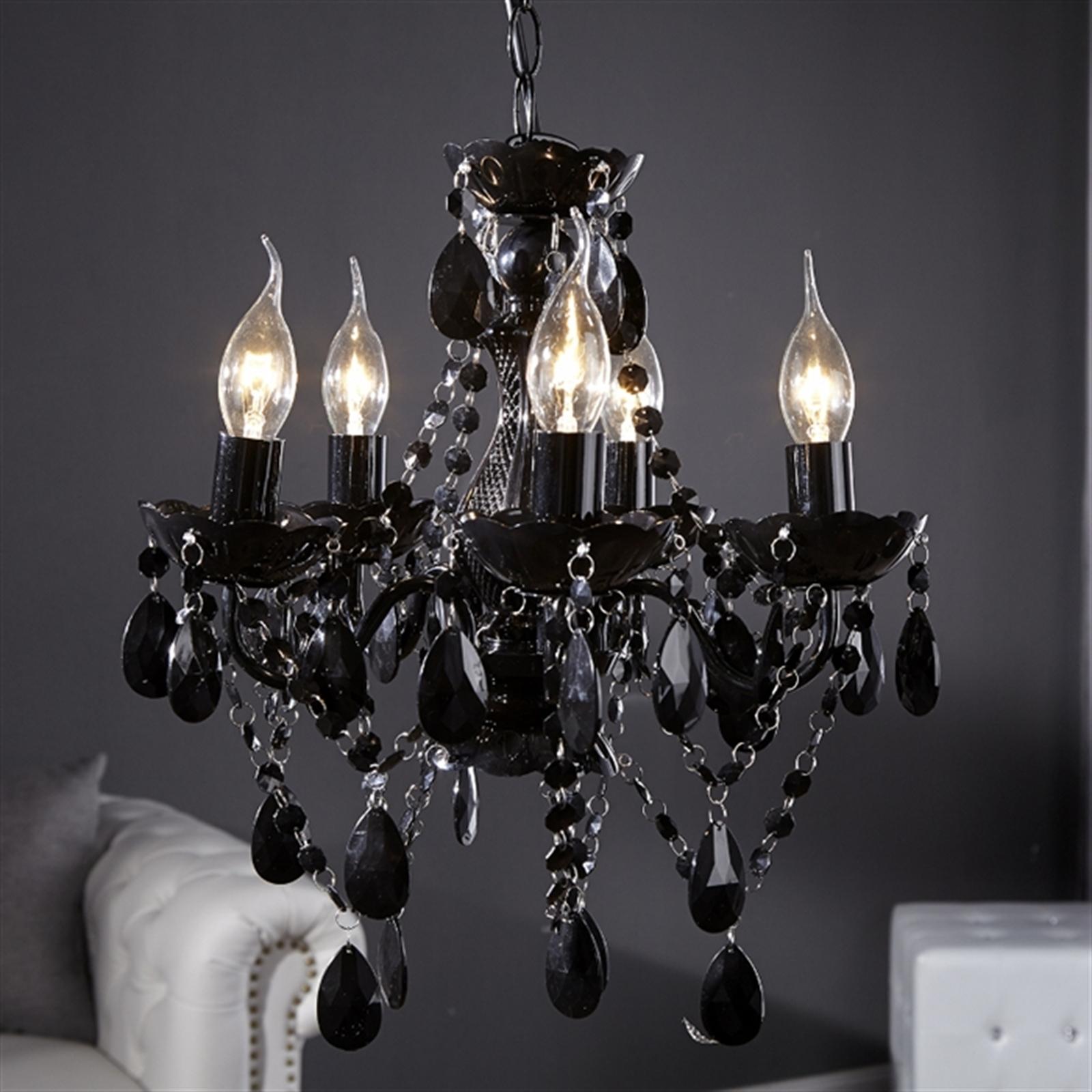 Elegant DESIGNER KRONLEUCHTER POMP | Acryl Schwarz, 5 Armig, Ø37cm | Luxus  Deckenleuchte