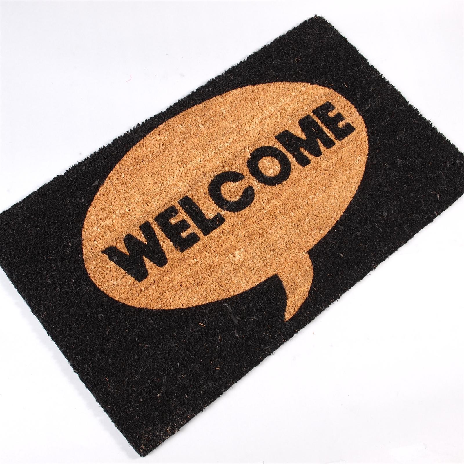 BIG DOOR MAT WELCOME Carpet Floor Coir Rug 100% Coconut