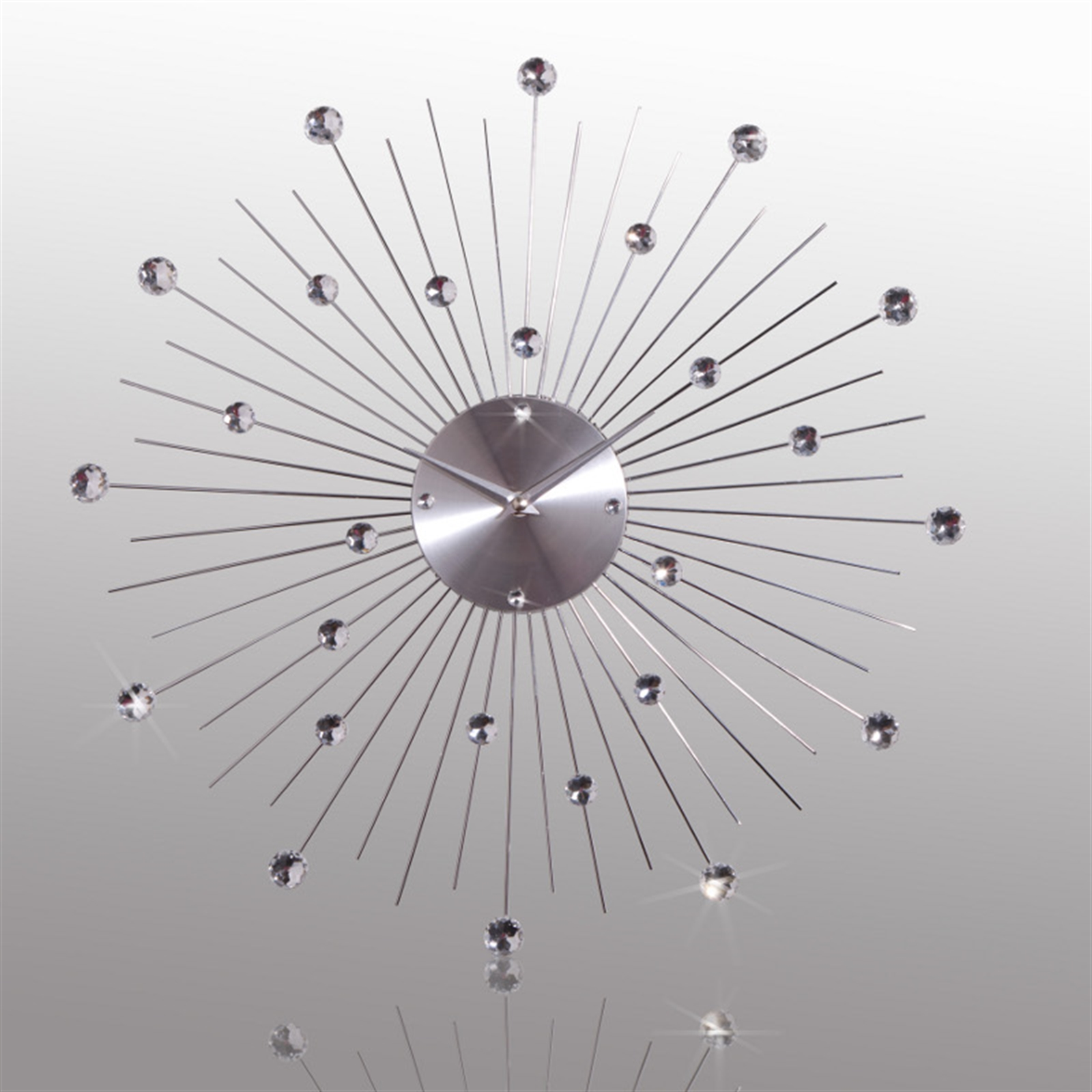 Design wall clock sunburst crystal 50 cm silver watch image is loading design wall clock sunburst crystal 50 cm silver amipublicfo Choice Image