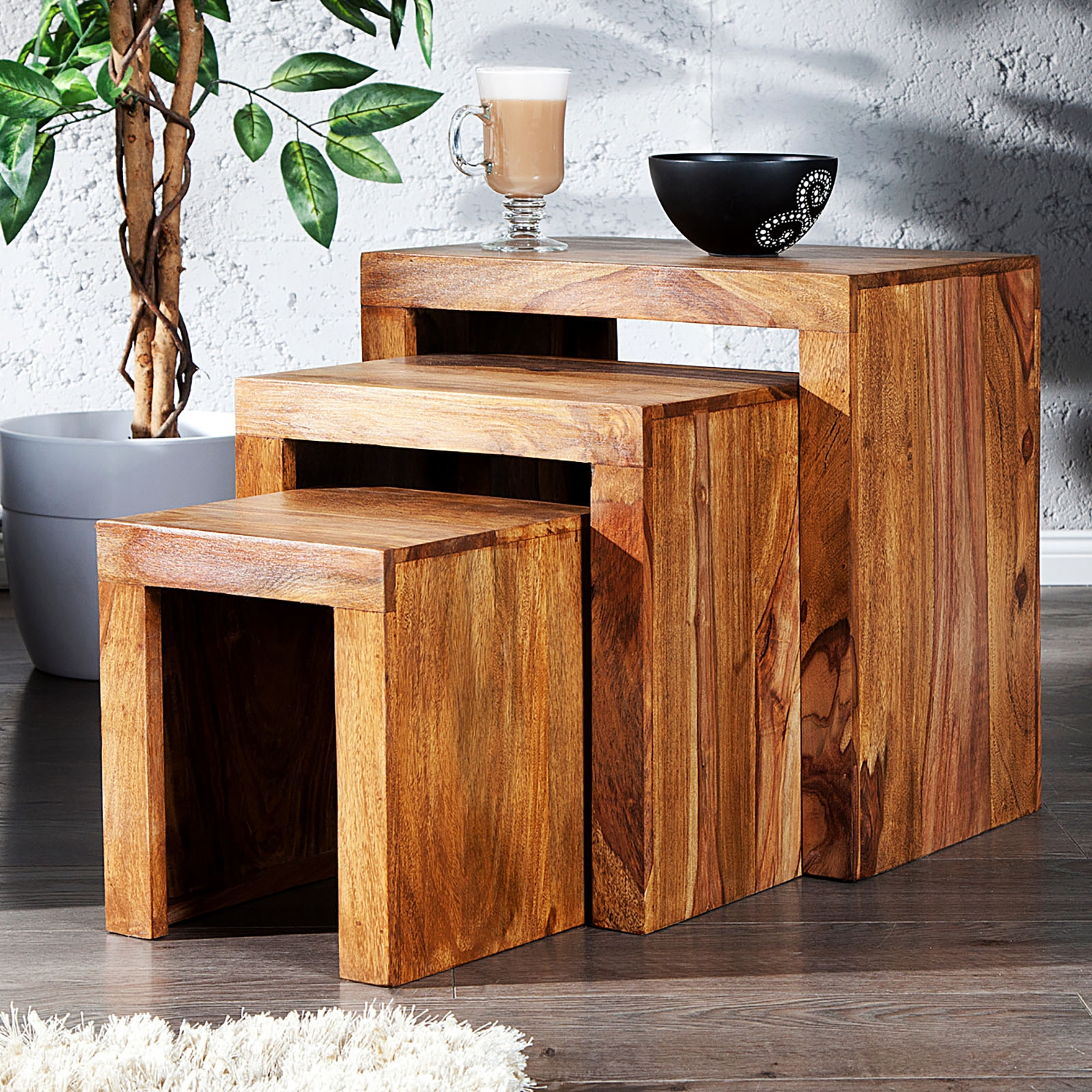 rustikales tischset sheesham beistelltisch aus massivem shesham holz 3 tlg braun eur 111 00. Black Bedroom Furniture Sets. Home Design Ideas