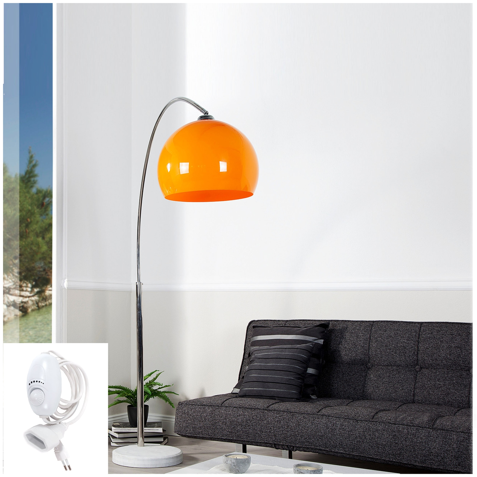 big bow retro design lampe dimmbar orange lounge stehlampe bogenlampe dimmer eur 118 00. Black Bedroom Furniture Sets. Home Design Ideas