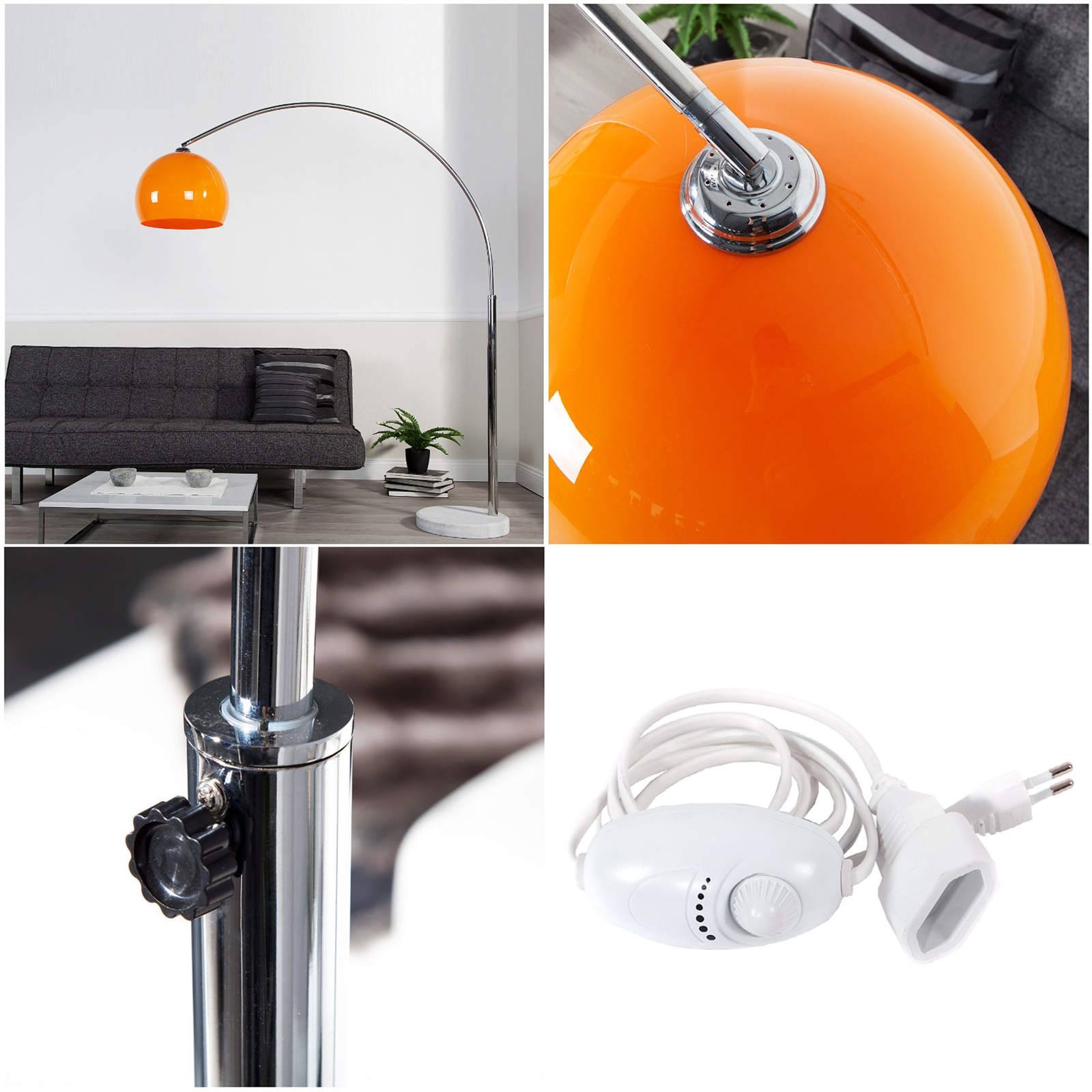 Big Bow Retro Design Lampe Dimmbar Orange Lounge Stehlampe