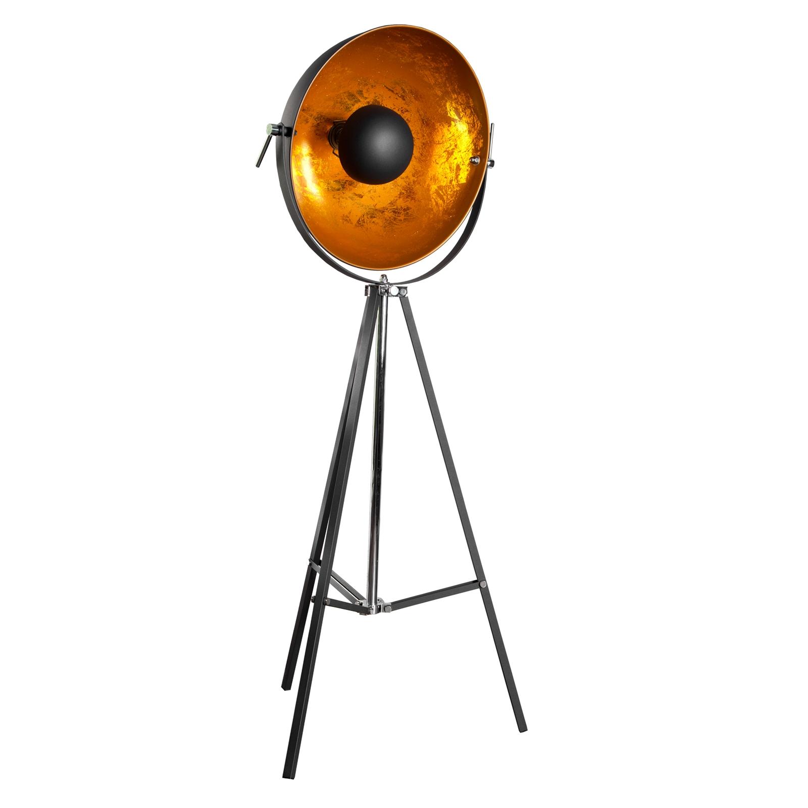 DESIGN STEHLEUCHTE SPOTLIGHT | gold/schwarz | Wohnzimmerlampe ...