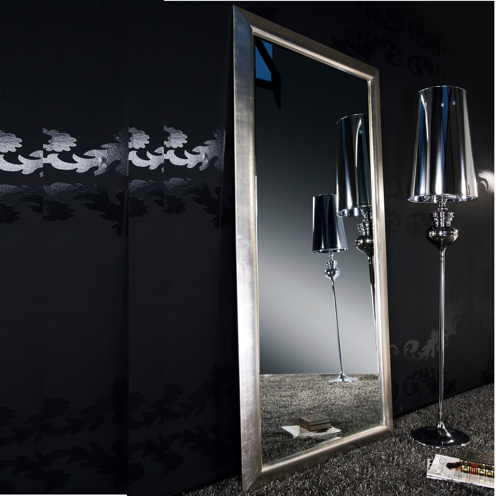 gro er wandspiegel elaganza silber 190 x 90 cm ebay. Black Bedroom Furniture Sets. Home Design Ideas