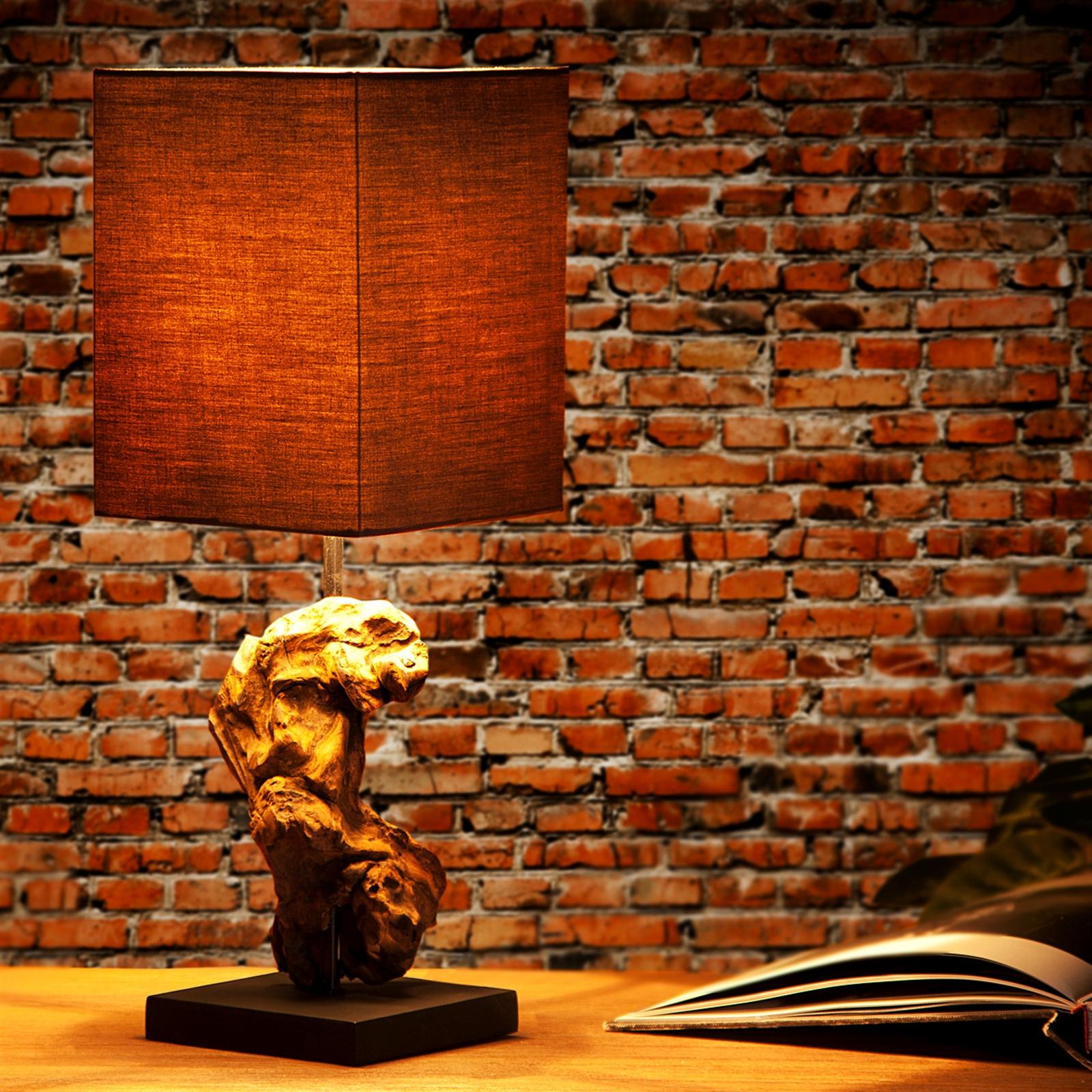 eek a tischleuchte corteza 45 cm treibholz leinenschirm nachttischlampe braun. Black Bedroom Furniture Sets. Home Design Ideas
