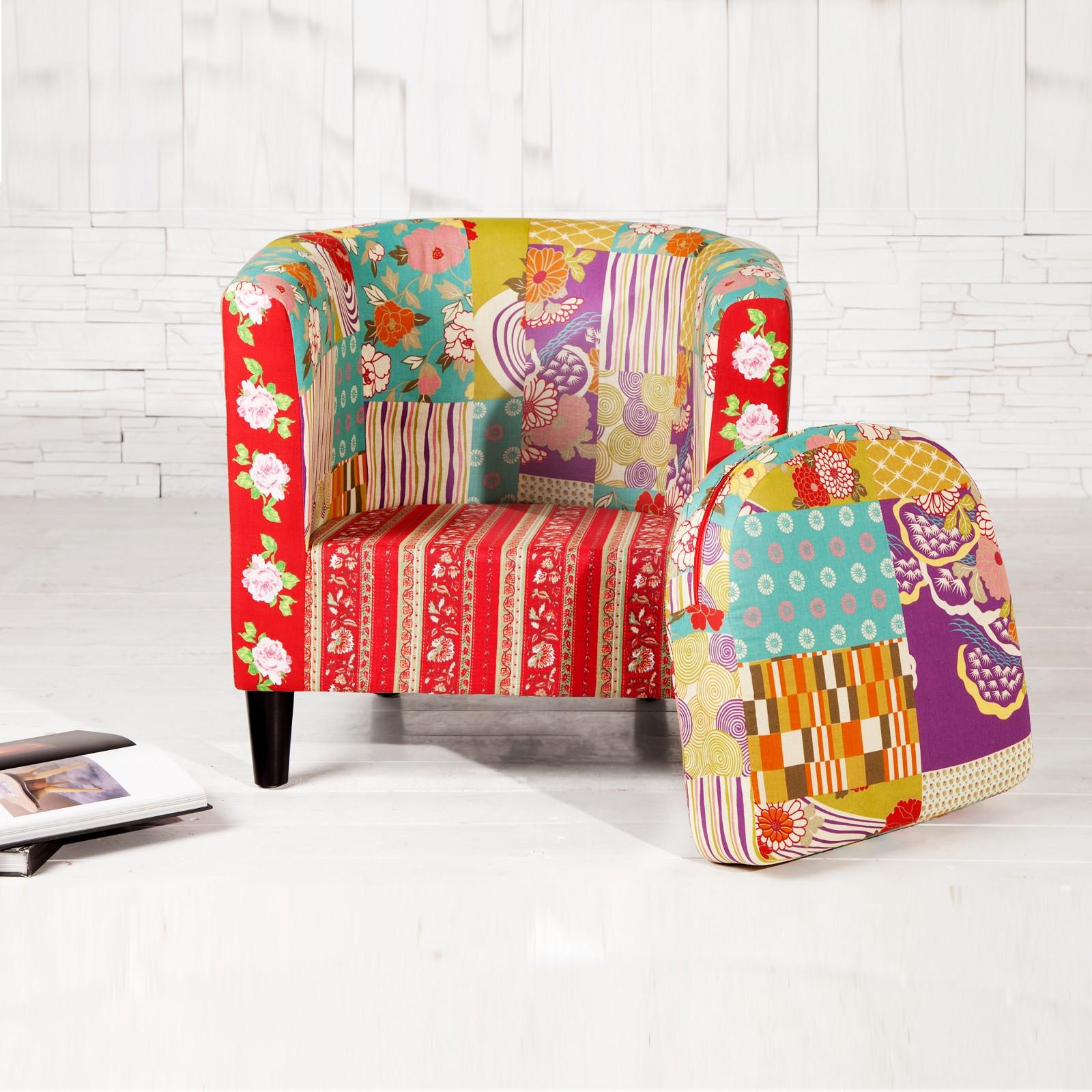 clubsessel floral patchwork wohnzimmer sessel fr hlich bunt gemustert ebay. Black Bedroom Furniture Sets. Home Design Ideas