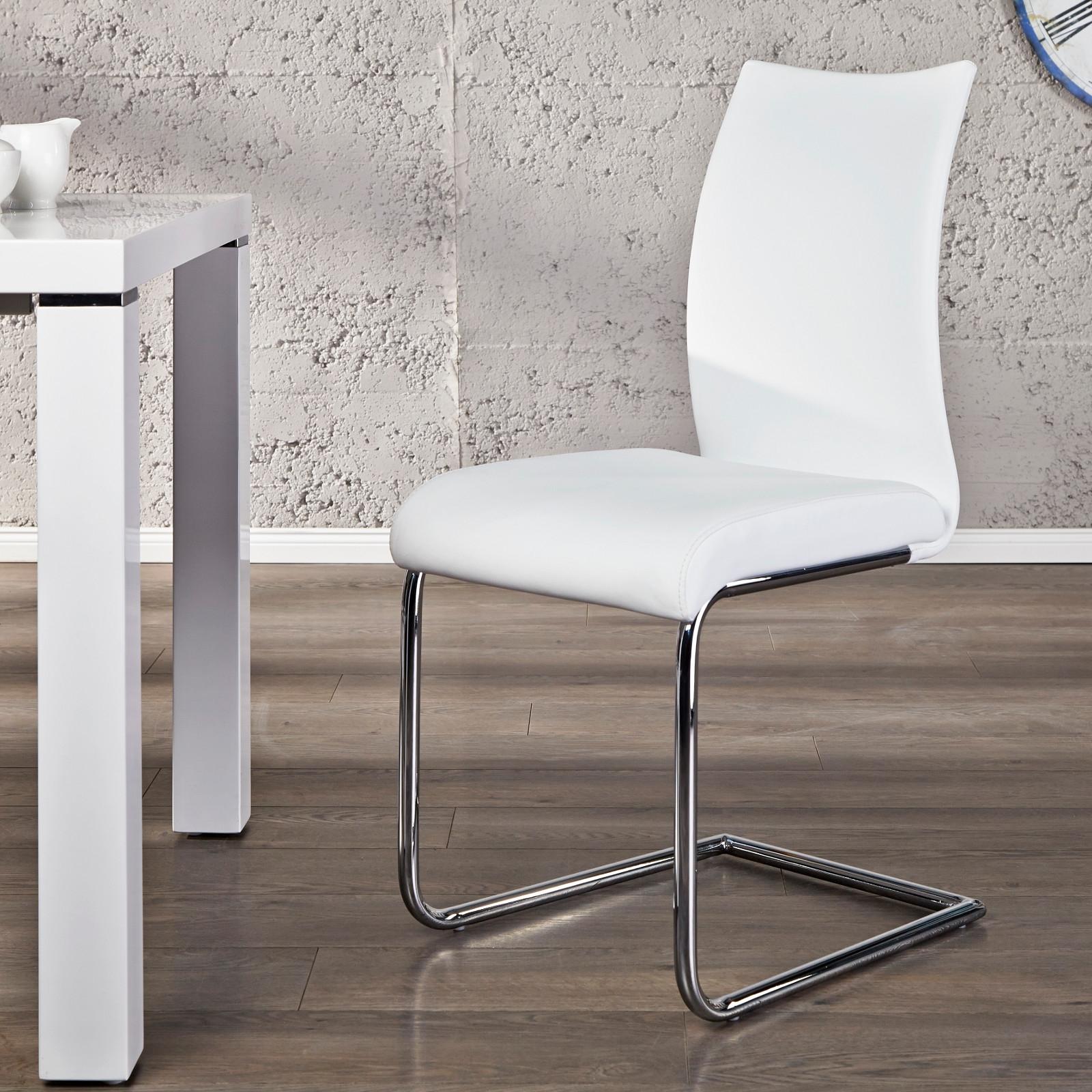 Design freischwinger stuhl balanced wei esstisch for Stuhl design weiss