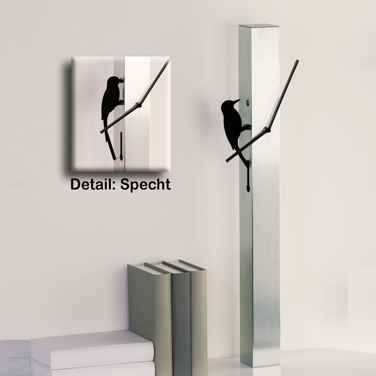 design wanduhr pecker aluminium 65cm specht. Black Bedroom Furniture Sets. Home Design Ideas