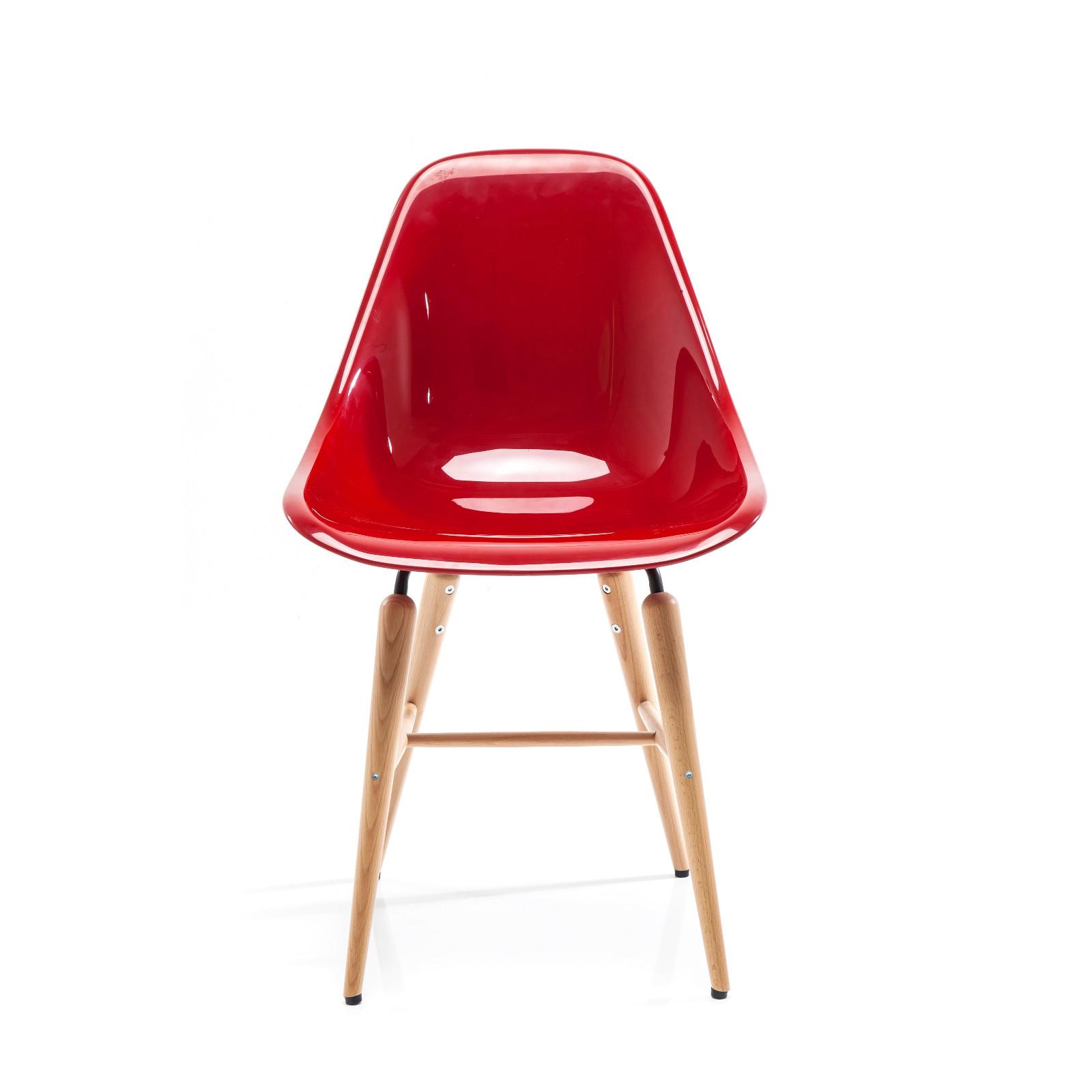 retro design esszimmer stuhl guscio mit sitzschale und buchenholzf e rot ebay. Black Bedroom Furniture Sets. Home Design Ideas